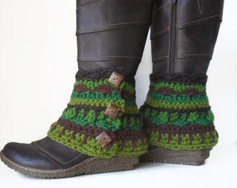 Funky Gypsy Woodland Boot Spats legwarmers Bohemian Button boot cuffs Hemp Wool Ready to Ship