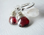 Sterling Silver Garnet Earrings Wire Wrapped.  Cranberry Earrings. Wire Wrapped Garnet Earrings. January Birthstone. Christmas Gifts for Her