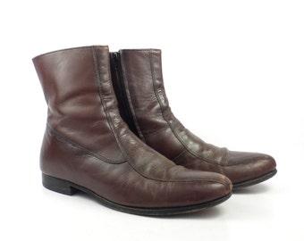 Leather Ankle Boots 1980s Nunn Bush Brown Euro Beatle Zip men's size 9 D