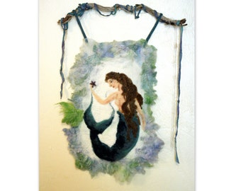 SALE Mermaid Wool Fiber Art Wall Hanging-Needle Felt-Handmade-Tapestry
