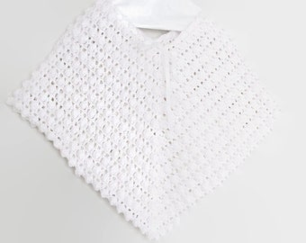 White Poncho, Baby Crochet Poncho
