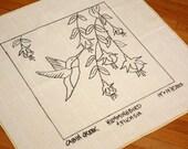 Hummingbird and Fuchsias, Rug Hooking Pattern on Monks Cloth