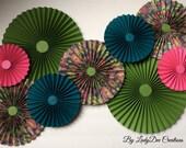 Green, Dark Teal & Pink (Peacock) Paper Rosettes - Wedding, Bridal Shower, Girl's Room decor, Party Decor, Dorm Room Decor, Wall Decor