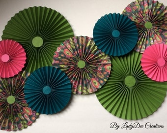 Green, Dark Teal & Pink Paper Fans / Rosettes - Wedding, Bride, Baby Shower, Nursery, Desert Table, Party Backdrop Decoration