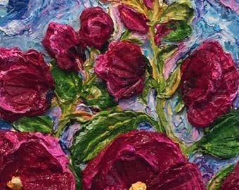 Hollyhocks magenta 8x24 inch  Original Impasto Oil Painting by Paris Wyatt Llanso