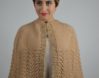 Fall Cape, Sweater Cape, Brown Cape, Crochet Shawl, Rockabilly Clothing, Tan & Gold, Handcrafted, Vintage Capes, Short Cape, 1950s Cape