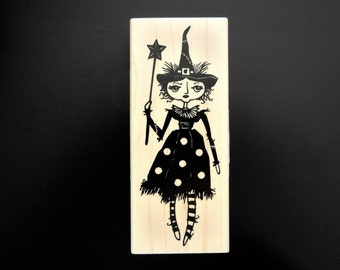 HALLOWEEN WITCH Wood Mount Rubber Stamp