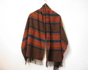 Vintage Tribal Shawl scarf brown burnt orange - hippie boho hipster poncho - wide tassle scarf - soft woven scarf- gifts for her