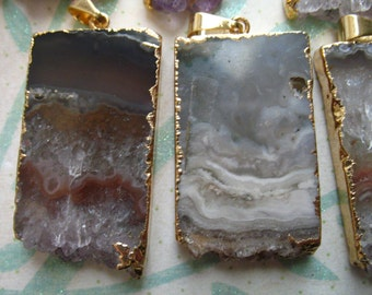 10% Off Sale.. 1 5 10 pc, Amethyst STALACTITE Slice Slab Pendant Charm, 24k Gold or Fine Silver Electroplated, ap41.6tl wf