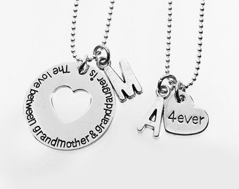 The Love Between a Grandmother and Granddaughter is Forever - Set of 2 Personalized Grandmother, Nana, Granddaughter Matching Necklaces