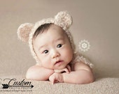 RTS Newborn Hat, Tan Teddy Bear Photography Prop, Baby Props, Photo Props, Handmade Hat, Baby Hat, Yarn, Mouse, Animal, Newborn Props, Props