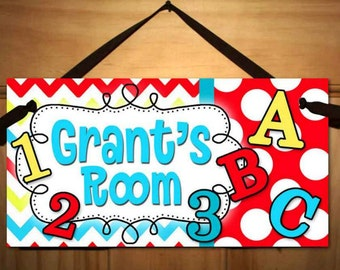 ABC 123 Yellow, Red and Turquoise Kids Bedroom DOOR SIGN Ds0377