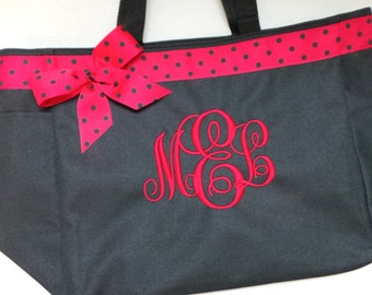 Personalized Tote bag Monogrammed with ribbon and bow. Lots of colors  and fonts to choose from.