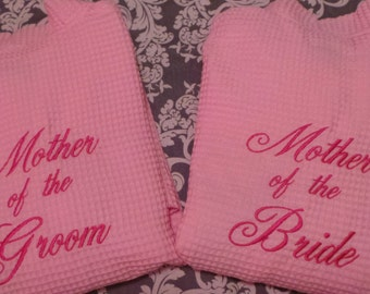 Mother of the Bride and Mother of the Groom robes 2 personalized robes waffle weave short robes. Embroidered robes. Wedding party robes