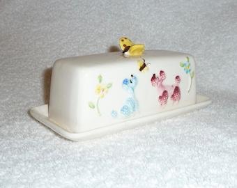 Vintage Enesco Poodle Butter Dish Pink Blue Puppy Dog Retro Kitchen
