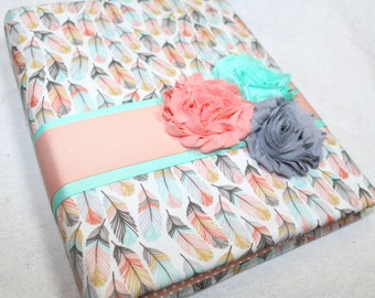 Guest Book, BABY Shower Guest Book, Feathers, Arrows, Baby Girl, Peach, Coral, Blush, Gold, Mint, Shower, Tribal Bridal Shower, aztec theme