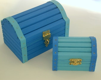 Nesting wood jewelry boxes-hand painted wood-wooden trinket treasure stash box-keepsakes collectibles-candy boxes-turquoise ocean blue-gifts
