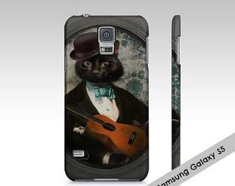 Samsung Galaxy 5/S5 Case Samsung Galaxy S4 case Cat Art Black Cat Cellphone Case Animal photography Pet Portrait - Felix Fitzpatrick