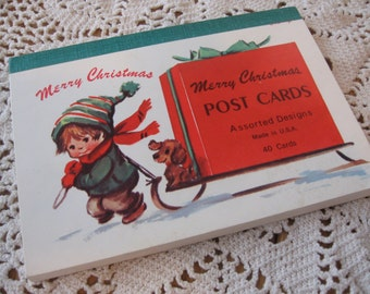 Intact Booklet of 25 Unused Vintage Christmas Postcards