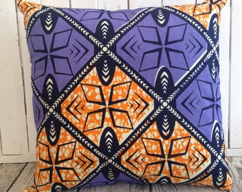 African decor Purple Orange African pillow cover, scatter cushion, African wax print  (17 inch) Africa decorative pillow