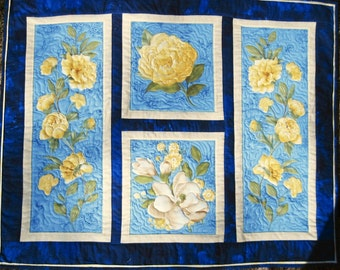 Quilted Wall hanging Yellow Roses Collage Quiltsy handmade