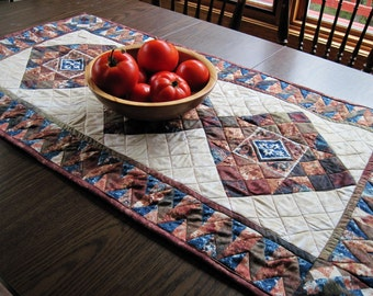 Quilted table runner Patchwork mosiac  granite look tiles Quiltsy handmade