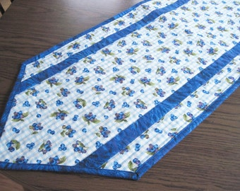 Quilted table runner  blue and white gingham check with blueberries Quiltsy handmade
