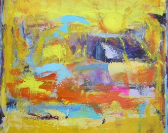 Sun Painting Large Abstract Yellow Art by Francine Ethier, 30 x 30 inches