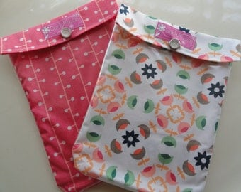 Ouch Pouch Sale 2 for 16.00 Medium 5x7 Clear Front First Aid Organizer for Diaper Bag Car Purse Spring Break Travel - Your Choice Fabrics