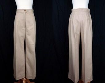 1960s High Waisted Wool Blend Slacks Wide Leg Fawn Beige Camel Small Medium
