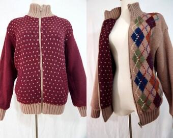 SALE 1970s Zip Up Cardigan Reversible Argyle Red Heart Sweater Knit Jacket Winter Coat Medium