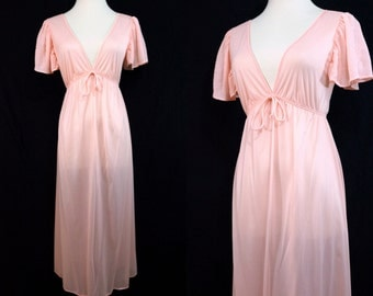 1970s Pink Maidenform Nightgown Plunging Flutter Sleeve Nylon Small Medium Nightie Pajamas