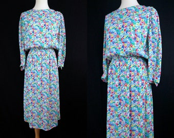1980s Rainbow Floral Secretary Dress Long Sleeve Rayon Spring Day Dress Steven Stoller Small Medium