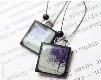 Winter Trees earrings - Winter jewelry  (E029)