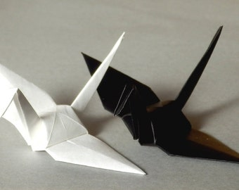 100 Small Origami Cranes Origami Paper Cranes - Made of 7.5cm 3 inches Japanese Paper - Black & White