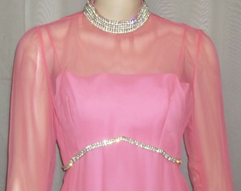 Vintage 1970's Long Rose Taft Couture Fashions PInk Rhinestone Maxi Dress Small