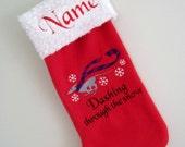Greyhound Dashing Through the Snow Christmas Stocking - Personalized