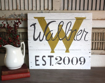 CUSTOMIZED Family- Wedding-Anniversary Sign- reclaimed wood- Initial- Established Monogram Sign
