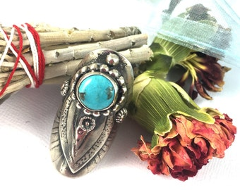 Sterling Silver Saddle Ring with Nevada Turquoise - Size 7.5
