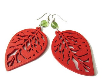 Red Wooden Leaf and Green Glass Beads Earrings