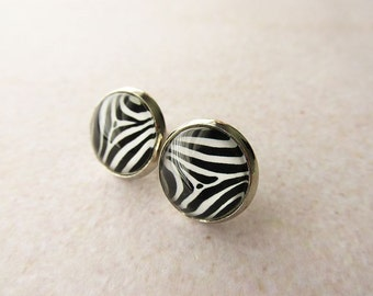 Zebra Glass Stud Earrings