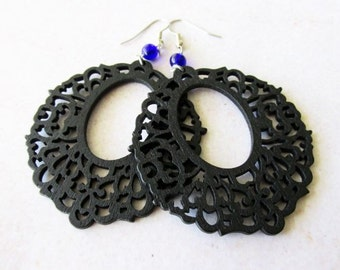 Large Black Lazer Cut Wooden Earrings with Cobalt Blue Glass Beads