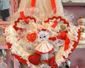 Vintage Inspired Sugar Sweet Sweetheart Kitschy Kitty Valentine Posy Pocket