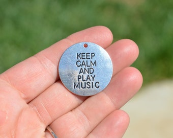 5  Silver Keep Calm and Play Music Charms SC3642