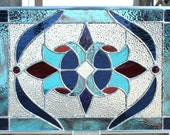 Stained Glass Panel in Blues and Red/Violet Purples
