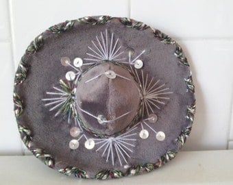Vintage Grey Silver Sequins Mini Sombrero For Pet