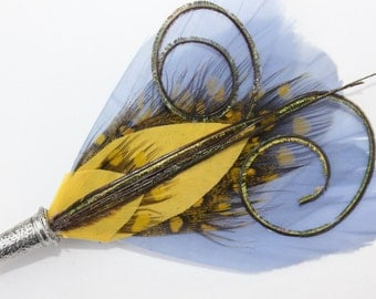 """Men's Lapel Pin, Vintage Feather Boutonniere, Hat Pin Brooch """"Frenchie"""" - periwinkle, yellow feathers with silver toned pin base"""