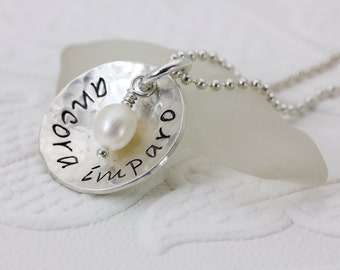 Ancora Imparo - Still I Am Learning - Hand Stamped Sterling Silver Jewelry - Inspirational Jewelry- Daughter Niece - Christina Guenther