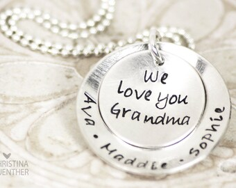 We Love You | Personalized Mom or Grandma Necklace | Hand Stamped Sterling Silver | Childrens Name Name | Christina Guenther