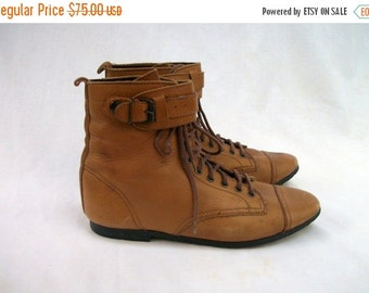 SALE 80s Caramel Brown Ankle Boots size 8 Lace Up Removable Straps Capped Toes